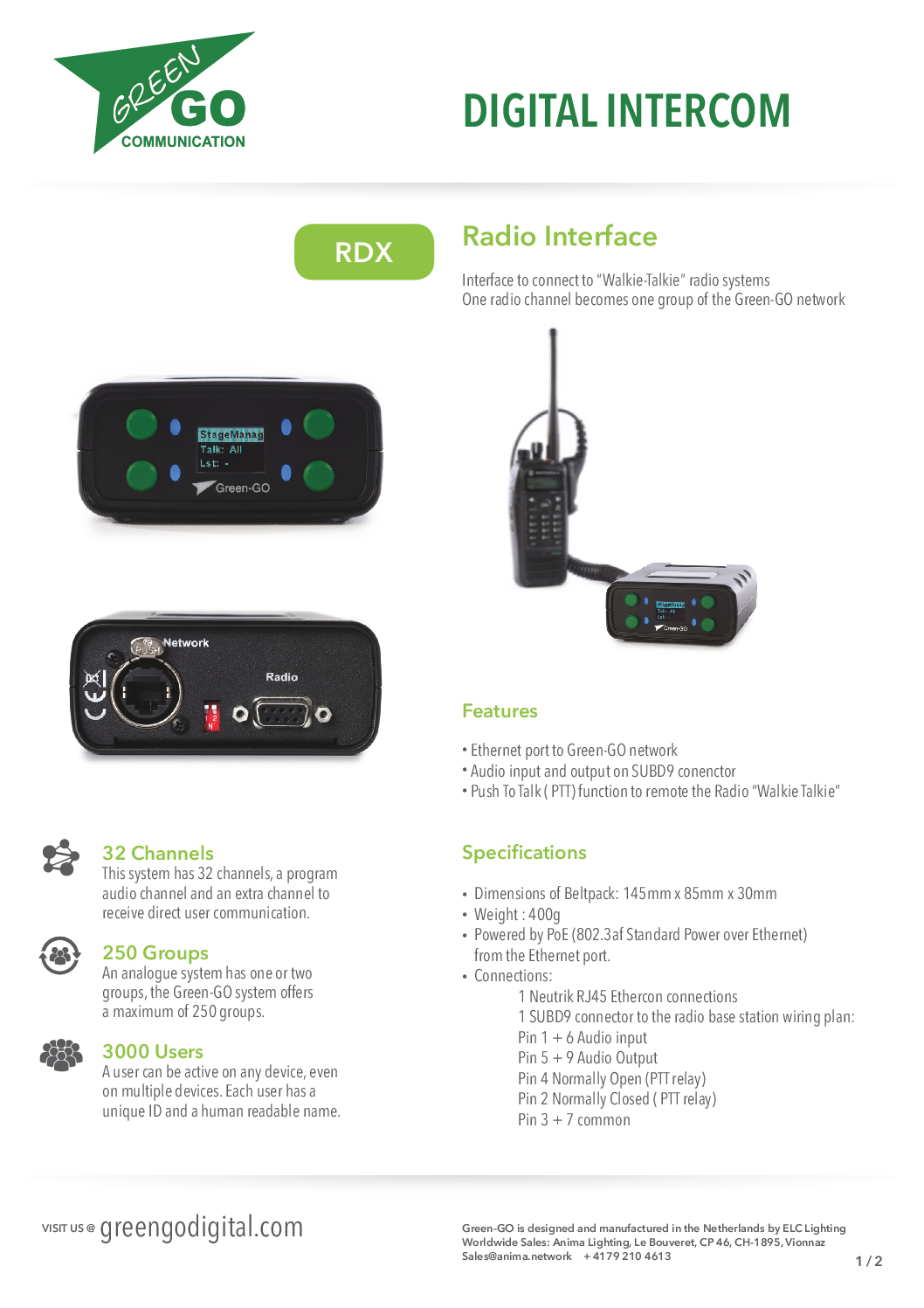 RDX Walkie-Talkie Interface by Green-GO / Intercom - publitec tv